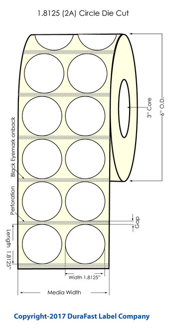 """TM-C7500 1.8125"""" Circle 2UP High Gloss Paper Labels 2500/Roll (931047)"""