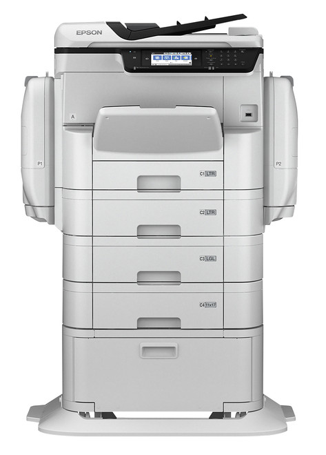 Epson WorkForce WF-C869R Color A3 Multifunction Copier shown with 2 option 500 sheet cassettes and optinal cabinet/stand