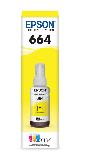 Epson WorkForce ET-16500 T664 Dye Yellow 70mL Ink Bottle - Sensormatic