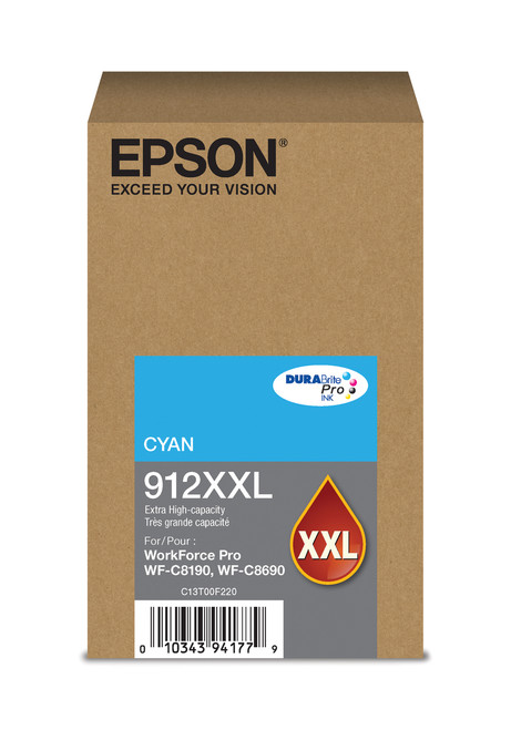 Epson WorkForce Pro T912XXL Extra High Capacity Cyan Ink 8,000 Page Yield