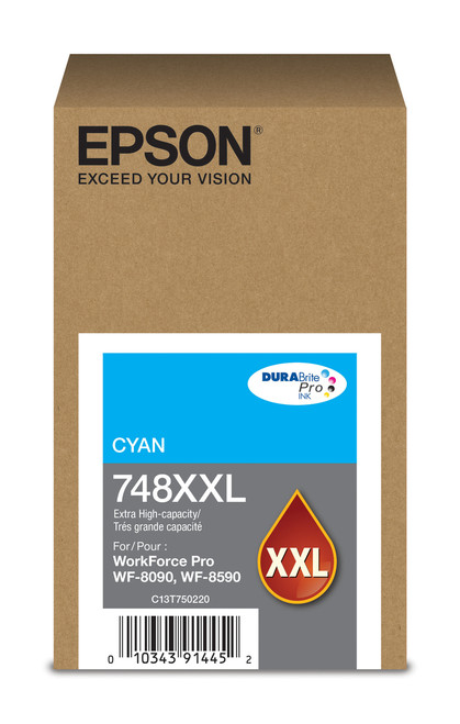 Epson WorkForce Pro 748 Extra High Capacity Cyan Ink for WF-6090/6590