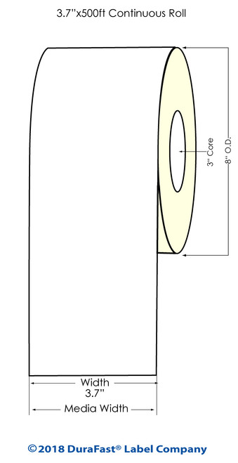 "TM-C7500 3.7"" x 500Ft Satin Polypropylene Synthetic Inkjet Label Roll (553006)"
