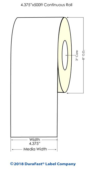 """TM-C7500 4.375"""" x 500Ft High Gloss Inkjet Paper Label Roll (558011)"""