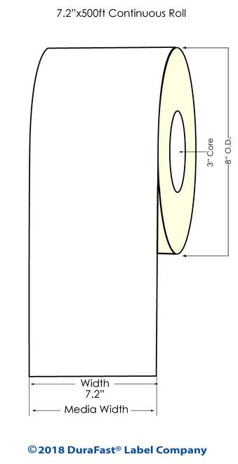 "Memjet 7.2"" x 500Ft Matte Inkjet Paper Label Roll (558013)"
