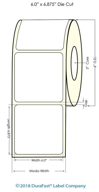"""L501 6"""" x 6.875"""" NP Glossy BOPP Label 350/Roll ( 934075)"""