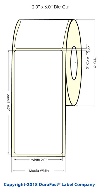 """TM-C7500 2"""" x 6"""" NP Matte Paper Label 400/Roll"""