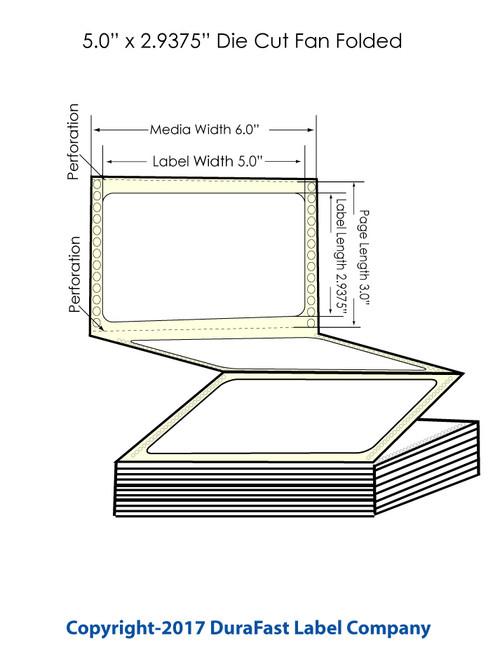 "DuraFast 5"" x 2 15/16"" High Gloss Labels for Epson GP-C831 Label Printer - 3,400/Carton"