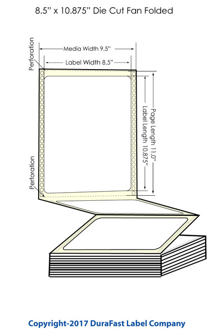 "DuraFast 8 1/2"" x 10 7/8""Matte Labels for Epson GP-C831 Label Printer - 850/Carton"