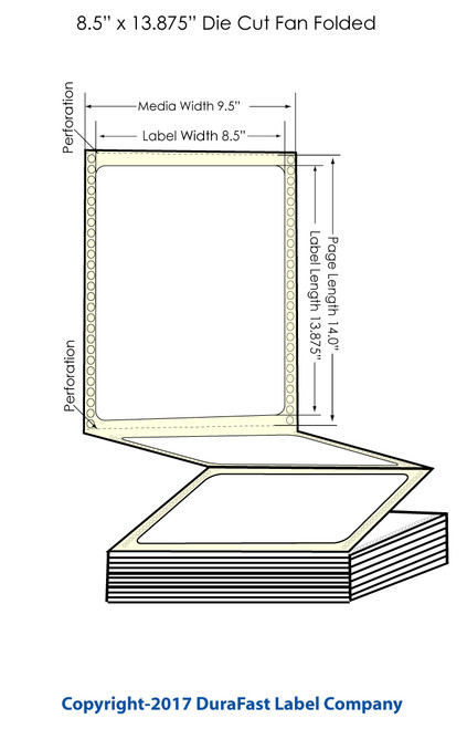 "DuraFast 8 1/2"" x 13 7/8""Matte Labels for Epson GP-C831 Label Printer - 850/Carton"
