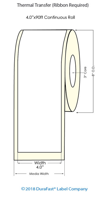 """Thermal Transfer 4"""" x 500Ft Label Roll - 3"""" Core   8"""" OD"""