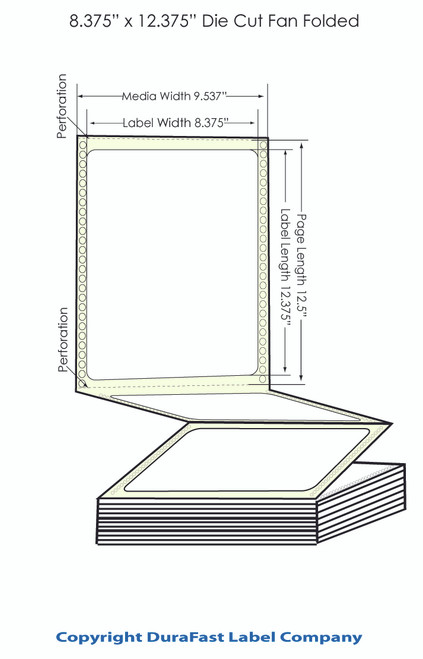 "DuraFast 8 3/8"" x 12 3/8""Matte Labels for Epson GP-C831 Label Printer - 850/Carton"