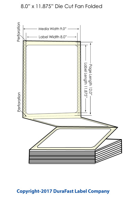 "DuraFast 8"" x 11 7/8""Matte BOPP Labels for Epson GP-C831 Label Printer - 800/Carton"
