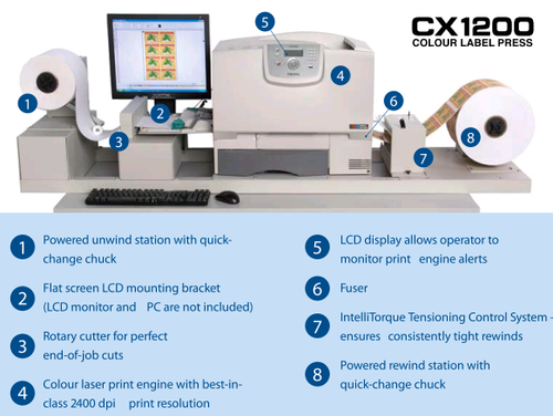 Primera CX1200 Digital label press has a complete solution for printing large quantity of labels in-house.