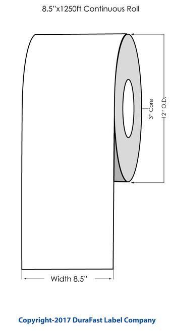 """Primera CX1200 Premium White Glossy Polyester Label Roll, 8.5"""" x 1250'"""