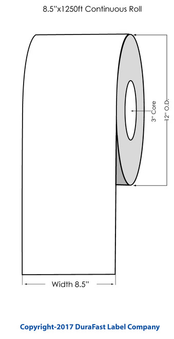 "Primera CX1200 Premium Clear Glossy Polyester Label Roll, 8.5"" x 1250'"