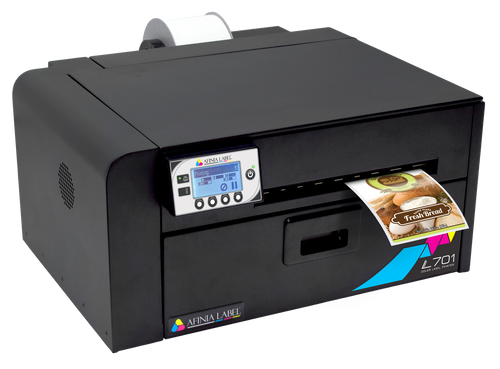 Afinia L701 Inkjet Colour Label Printer shown with optional label unwinder on the back