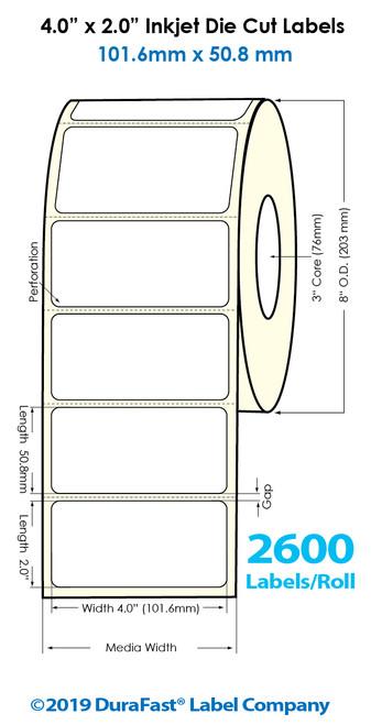 "Inkjet 4""x2"" High Gloss Paper Labels | 2600 /Roll | 4 Rolls/Carton"