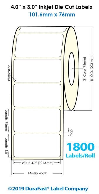 "Inkjet 4""x3"" High Gloss Paper Labels | 1800 /Roll | 4 Rolls/Carton"