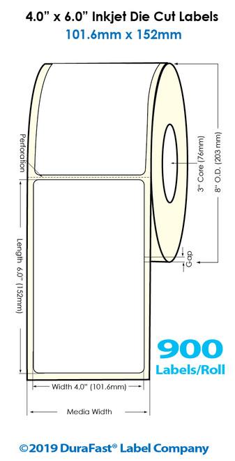"Inkjet 4""x6"" High Gloss Paper Labels   900 /Roll   4 Rolls/Carton"