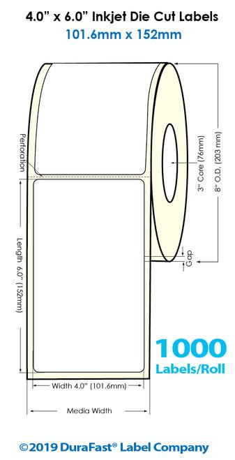 "Inkjet 4""x6"" Glossy Polypropylene Labels | 1000 /Roll | 4 Rolls/Carton"