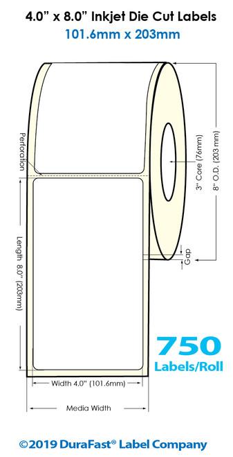 "Inkjet 4""x8"" Glossy Polypropylene Labels | 750 /Roll | 4 Rolls/Carton"