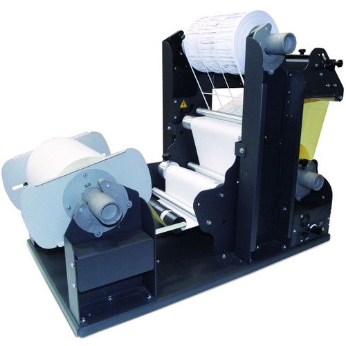 This system will remove the waste label matrix, slit the labels and rewind the labels onto individual rolls.