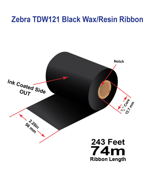 "Zebra 2.20"" x 243 feet TDW121 Wax-Resin Enhanced Ribbon with Ink OUT | 12/Ctn"