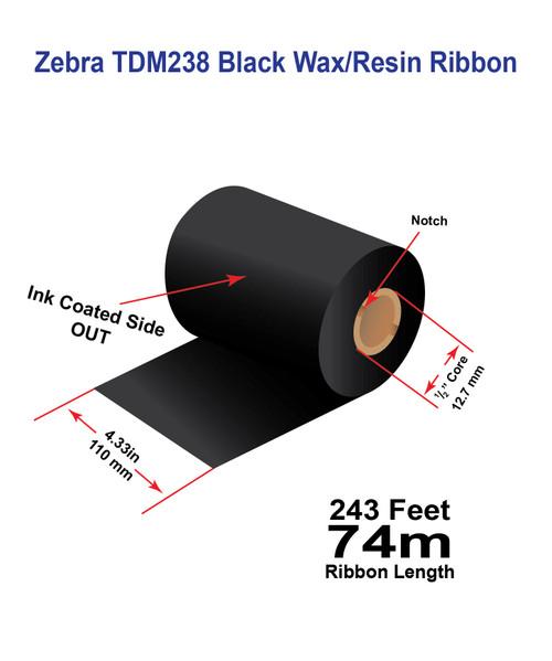 "Zebra Eltron 2844 4.33"" x 243 feet TDM238 Wax/Resin Ribbon with Ink OUT | 12/Ctn"