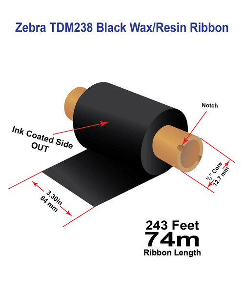 "Zebra/Godex 3.3"" x 243 feet TDM238 Wax/Resin Premium Ribbon with Ink OUT   12/Ctn"