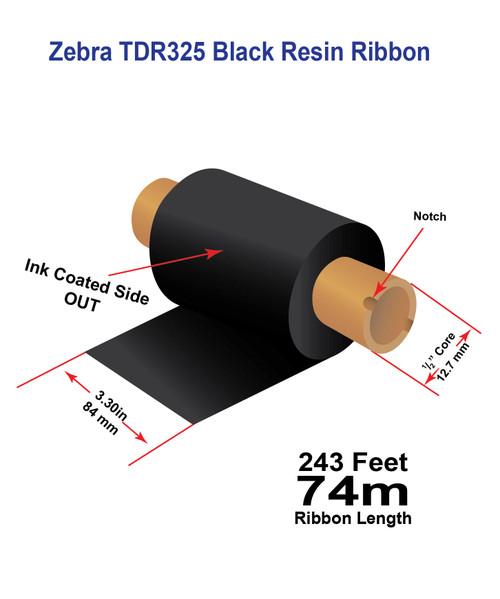 "Zebra Eltron 2844 3.30"" x 243 feet TDR325 Resin Ribbon with Ink OUT | 12/Ctn"