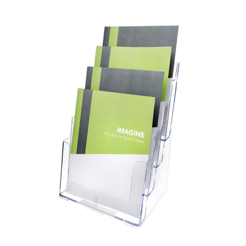 Deflecto 4-Tier Magazine Size Lit Holder, Countertop or Wall Mount Use