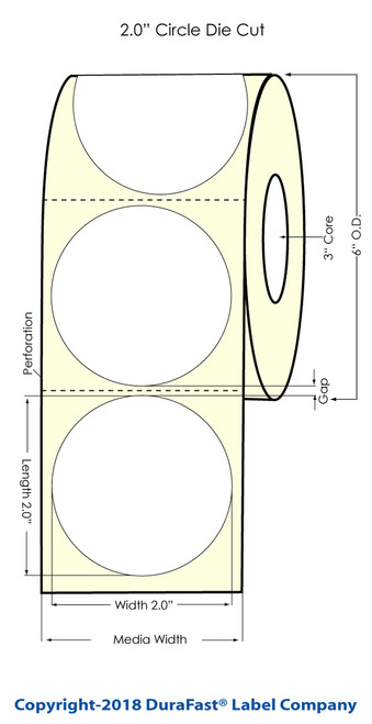 "L801 2.5"" Circle High Gloss Paper Labels 900/Roll Matrix ON (641007)"