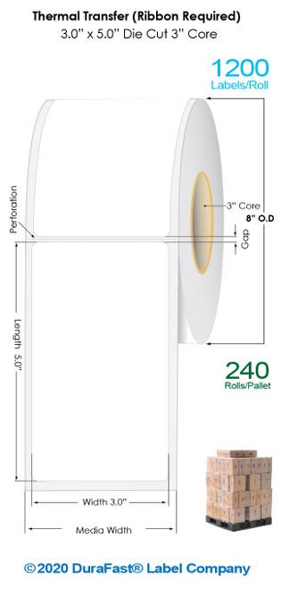 "Thermal Transfer 3"" x5"" Matte Paper Labels 1200/Roll - 3"" Core | 8"" OD / 8 Rolls/Carton (Pallet Sale)"
