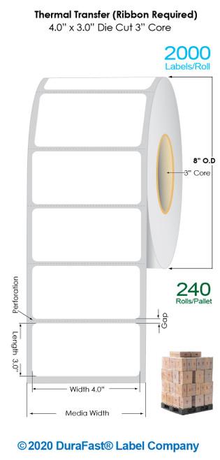 "Thermal Transfer 4"" x3"" Matte Paper Labels 2000/Roll - 3"" Core   8"" OD / 4 Rolls/Carton (Pallet Sale)"