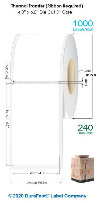 "Thermal Transfer 4"" x 6"" Matte Paper Labels 1000/Roll - 3"" Core | 8"" OD / 4 Rolls/Carton (Pallet Sale)"