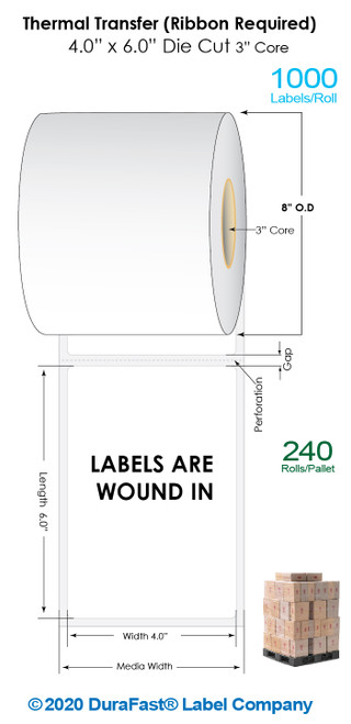 """Thermal Transfer 4"""" x 6"""" Matte Paper Labels 1000/Roll (Wound In) - 3"""" Core 