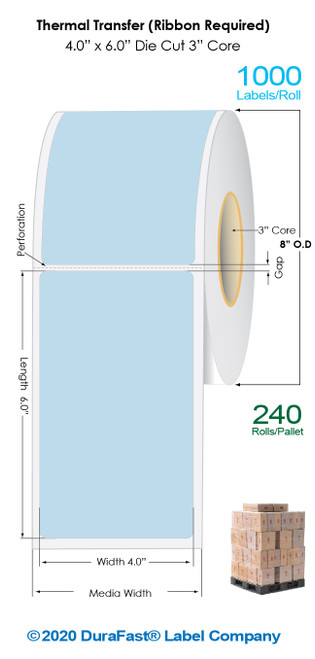 "Thermal Transfer 4"" x 6"" BLUE Matte Paper Labels 1000/Roll - 3"" Core   8"" OD / 4 Rolls/Carton (Pallet Sale)"