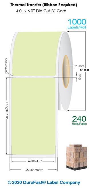 "Thermal Transfer 4"" x 6"" GREEN Matte Paper Labels 1000/Roll - 3"" Core | 8"" OD / 4 Rolls/Carton (Pallet Sale)"