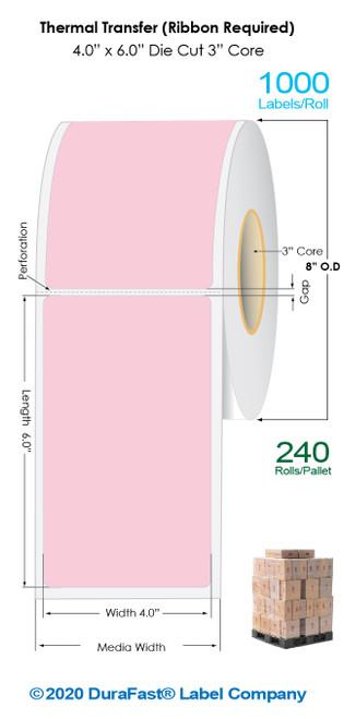 "Thermal Transfer 4"" x 6"" PINK Matte Paper Labels 1000/Roll - 3"" Core | 8"" OD / 4 Rolls/Carton (Pallet Sale)"