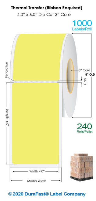 """Thermal Transfer 4"""" x 6"""" YELLOW Matte Paper Labels 1000/Roll - 3"""" Core 