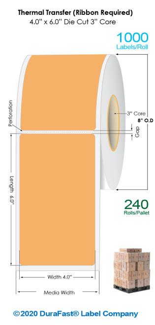 "Thermal Transfer 4"" x 6"" ORANGE Floodcoated Matte Paper Labels 1000/Roll - 3"" Core | 8"" OD / 4 Rolls/Carton (Pallet Sale)"