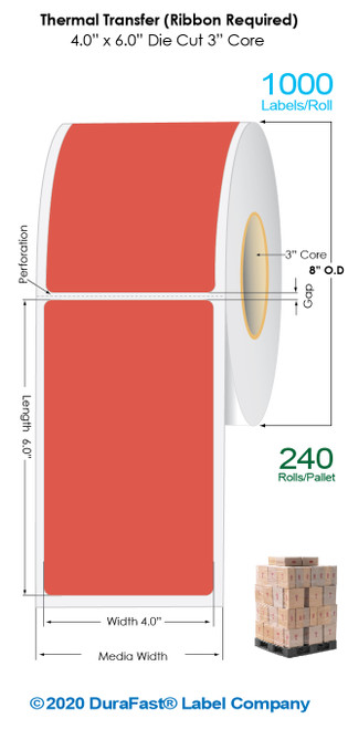 """Thermal Transfer 4"""" x 6"""" RED Matte Paper Labels 1000/Roll - 3"""" Core   8"""" OD / 4 Rolls/Carton (Pallet Sale)"""