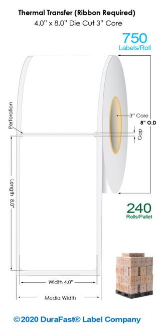 "Thermal Transfer 4"" x 8"" Matte Paper Labels 750/Roll - 3"" Core | 8"" OD / 4 Rolls/Carton (Pallet Sale)"
