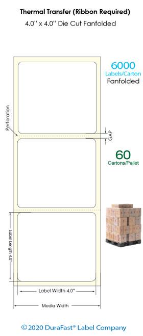 "Thermal Transfer 4"" x 4"" Matte Paper Labels 6,000 Fanfolded/Carton (Pallet Sale)"