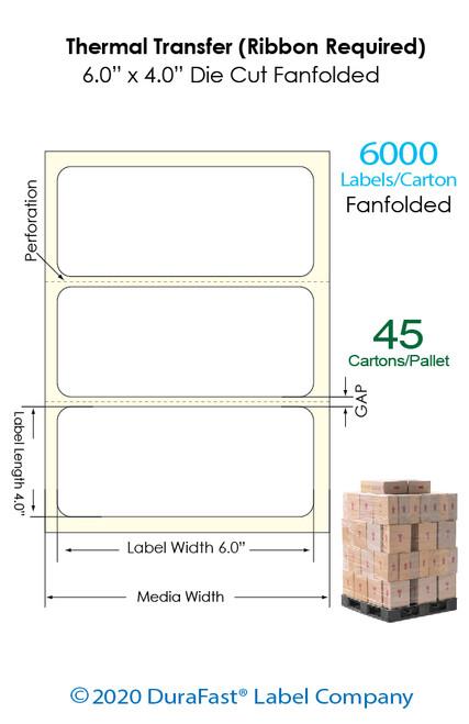 "Direct Thermal 6"" x 4"" Matte Paper Labels 6,000 Fanfolded/Carton (Pallet Sale)"