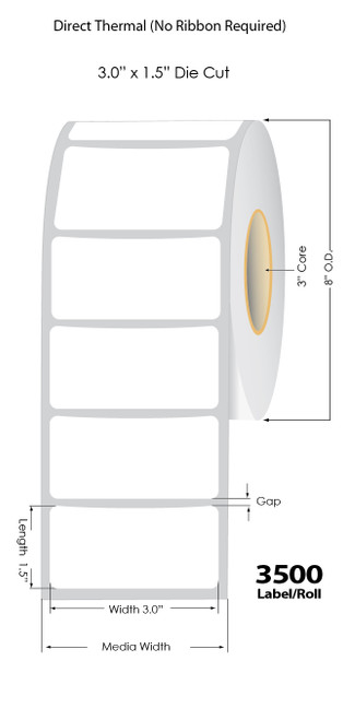 "Direct Thermal 3"" x 1.5"" Matte Polypropylene Custom Labels 3500/Roll -3"" Core   8"" OD"
