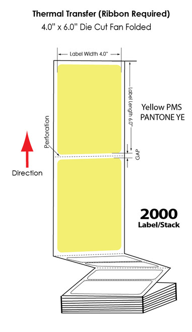 """Thermal Transfer 4"""" x 6"""" Yellow Floadcoated Matte Paper Labels Fanfolded 2000/Stack"""