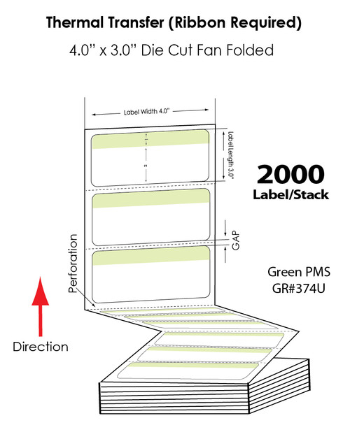 "Thermal Transfer 4"" x 3"" Green/White Matte Paper Labels Fanfolded 2000/Stack"