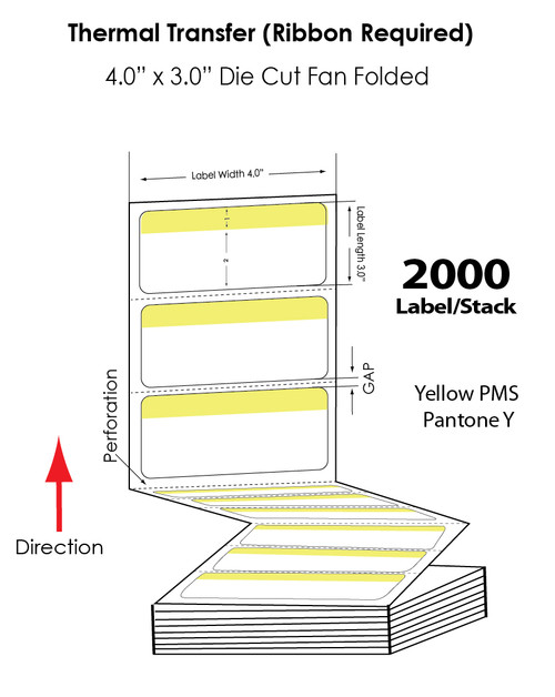 "Thermal Transfer 4"" x 3"" Yellow/White Matte Paper Labels Fanfolded 2000/Stack"