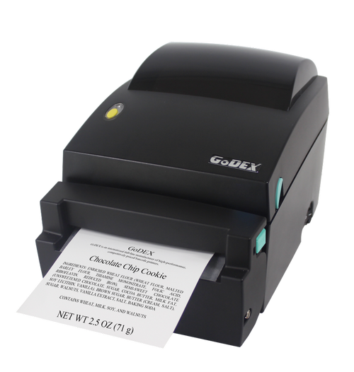 Godex DT4L Linerless Direct Thermal Label Printer front view with linerless label coming out